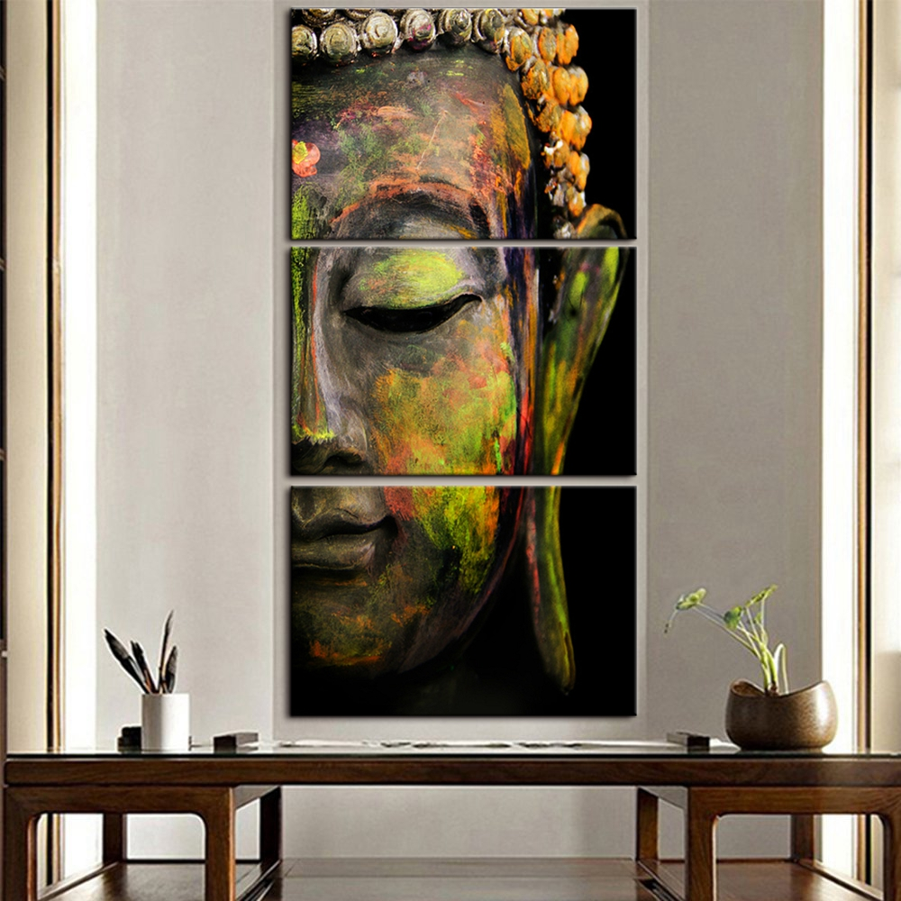 Buddha Canvas Prints Zen Wall Art Buddha Head Meditation Statue Portrait Religion Painting for Home and Office Decor Drop ship in Painting Calligraphy from Home Garden