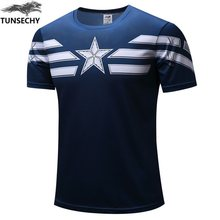 TUNSECHY 2019 Captain America T Shirt 3D Printed T-shirts Men Marvel Avengers iron man War Fitness Clothing Male(China)