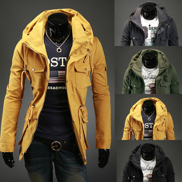 2016 led doble side pocket hombres del ocio color puro chaqueta de manga larga