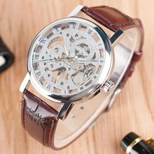 лучшая цена WINNER Men's Watch Top Brand Luxury Mechanical Watch Men Transparent Skeleton Leather Sports Clock Male Wristwatch saat erkekler