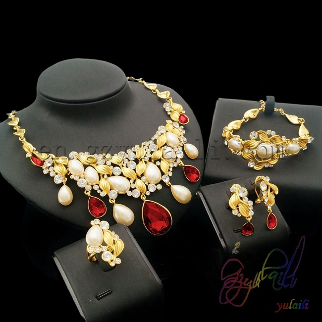 Artificial Jewellery Sets For Wedding: Most Popular Dubai Gold Color Jewelry Set Kundan Jewellery