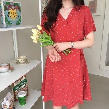 print 2018 New Summer Women Dress Knee-Length red dot Dress Short Sleeve Casual OL Dresses Femme Elegant Dresses V Neck elegant scoop neck abstract print short sleeve dress for women