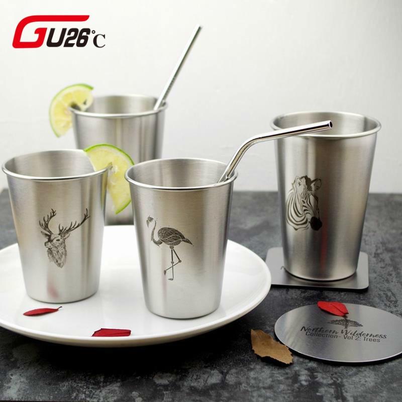 Simple Stainless Steel Juice Beer Water Cup 350/500ML Unbreakable Stackable Pint Cups Juice Mug Coffee Cup Drinking Cups ...