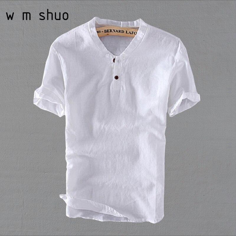4XL 5XL Plus Size 2018 New Cotton Linen Shirts Man Summer Solid Retro Casual Shirts Short Sleeve V-Neck Fashion Clothes Y003