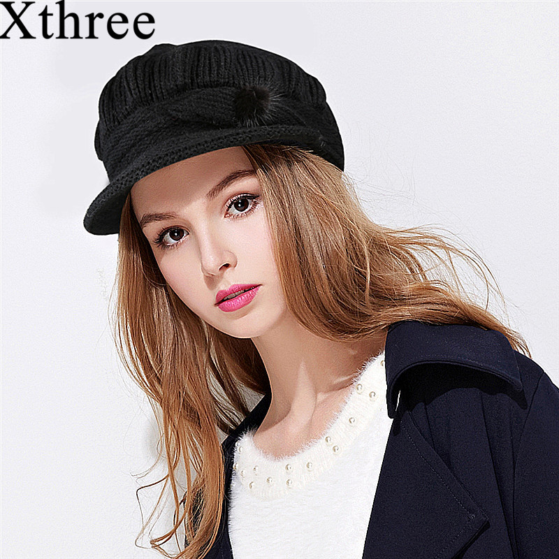 Xthree Winter   skullies     beanies   hat for women rabbit fur knit cap balaclava gorras bonnet knitted hat