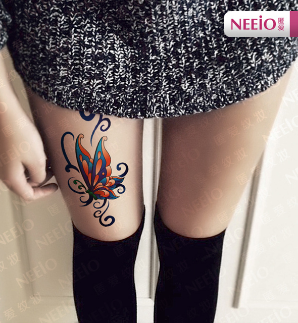 Butterfly tattoos on back of leg