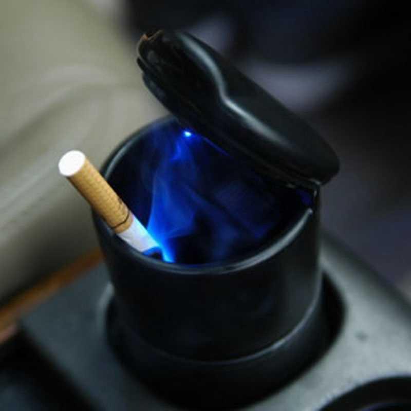 Прочная переносная пепельница для автомобиля, домашняя рама, набор, черная тележка для путешествий, пепельница для сигарет, светодиодный пепельница для лампы, черный цвет