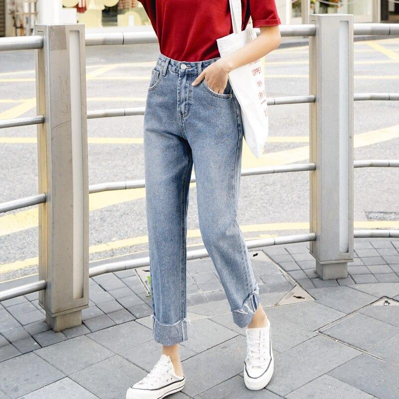 2019 Frühjahr Neue Hohe Taille Cuffed Cropped Jeans Frauen Lose Gerade Denim Hosen Weibliche Casual Jeans