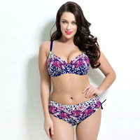Summer Swimwear Plus Size Floral Big Cup Swimsuit 2016 Women Sexy Push Up Printed Large Size