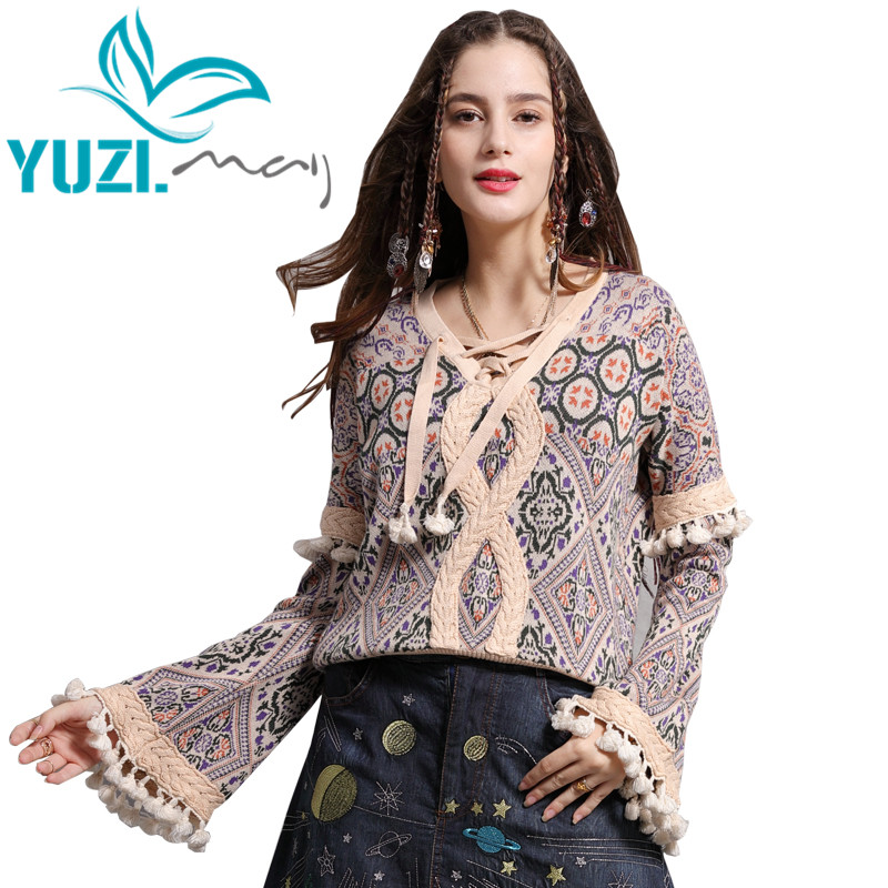 Sweater Female 2018 Yuzi.may Boho New Cotton Wool Pullover V-Neck Flare Sleeve Tassels Floral Patchwork Christmas Sweaters B9273