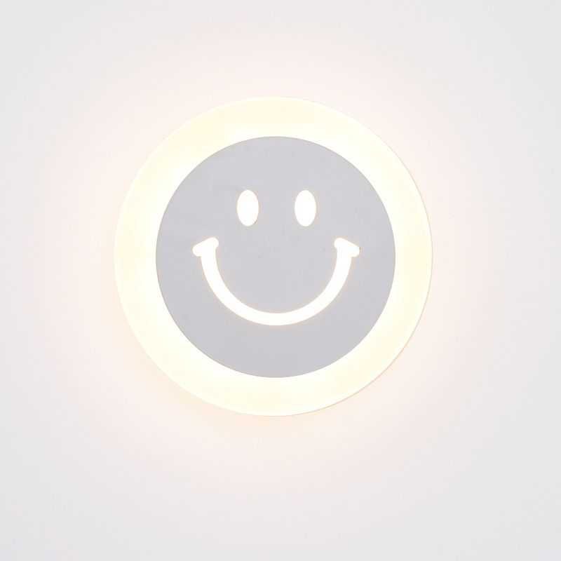Creative LED Smile Face Wandlamp Simple Kids Cartoon Bed Room Light - Binnenverlichting - Foto 4