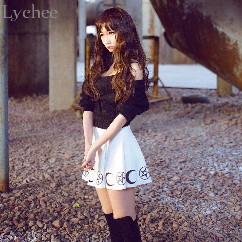 Lychee Harajuku Punk Rock Goth Summer Women Skirt Goth Witch Pentacle Moon Print Kawaii Waist Mini