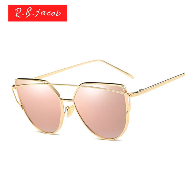 e83df69867 Brand designer UV400 Rose Gold Mirror Cheap Lady Flat lens Cateye Sun  Glasses Hot sale Female Aviation Cat Eye sunglasses women