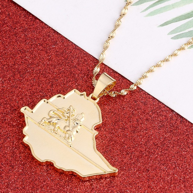 Original ethiopian map necklace for women gold color lion eritrea original ethiopian map necklace for women gold color lion eritrea ethiopia old map pendant necklaces jewelry mozeypictures Gallery