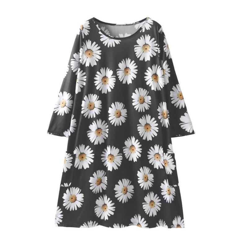 Mode Daisy fleur famille correspondant vêtements automne printemps mère fille enfants Floral imprimé robes noir maman fille robe 2