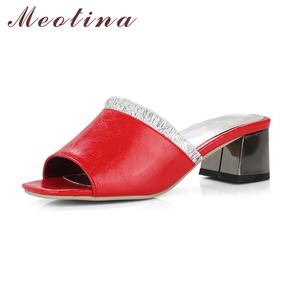 Meotina Women Shoes Summer Chunky Heel Slides Causal Ladies Shoes Sandals Open Toe Ruffles Slippers Red White Black Big Size 11 women summer slippers 2018 new arrivals shoes outdoor open toe sides comfortable flats floor silver black red plus size 45 3 39