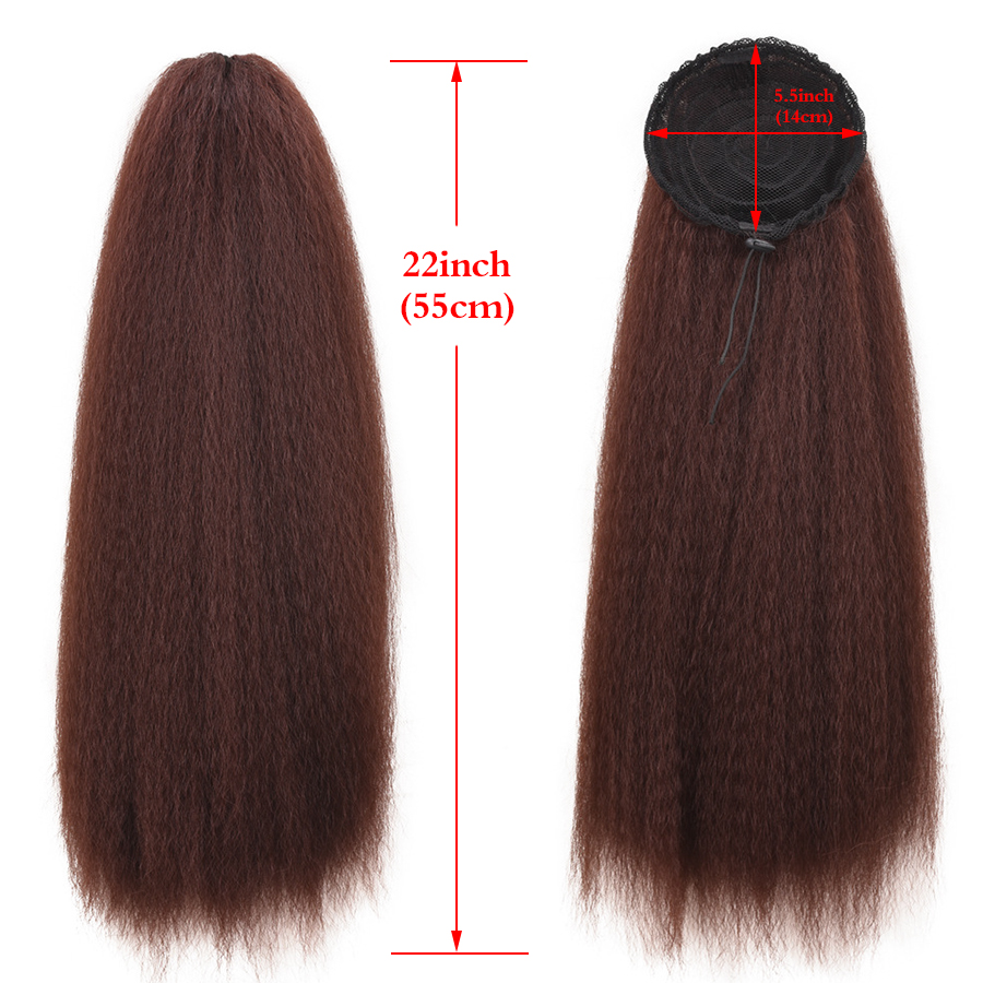 Drawstring Ponytails Puff Clip Long-Afro Kinky Synthetic Straight Alileader with Elastic-Band