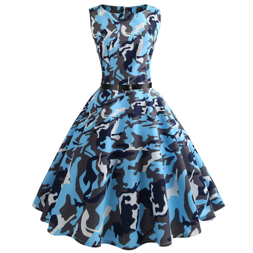 Chamsgend Brand New Women Camouflage Printing Sleeveless Tunic Blue Large Swing Dress Woman Dresses Evening Party 80413