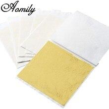 Aomily – feuille d'or pratique, 100 pièces/ensemble 9x9cm, Pure, brillante, pour la dorure, lignes de meuble, artisanat mural, décoration