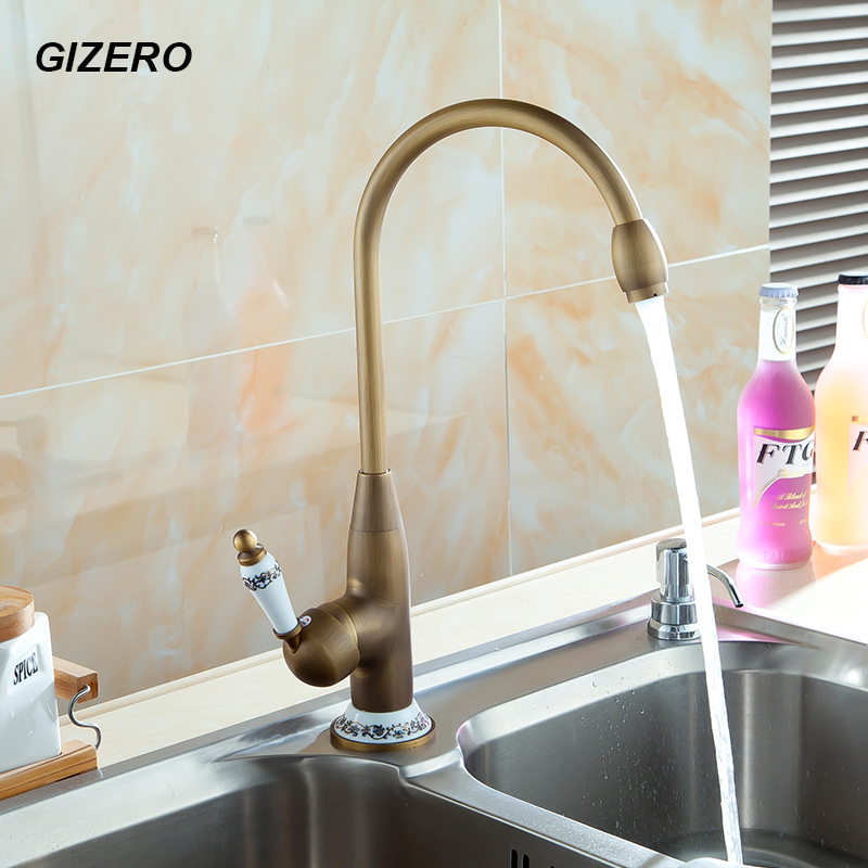 Kitchen Swivel Mixer hot can cold Antique Copper Finish 360 Degree Rotation Basin Sink Mixer Tap with Ceramic Deck Mounted ZR127