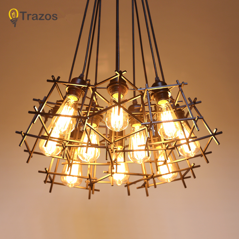 American Loft Vintage pendant light Personality Wrought Iron lights Edison nordic lamp industrial cage lamp lighting fixtures modern edison personality industrial lighting counter lamps cage vintage pendant lights pendant lamp edison bulbs ac 110 220v