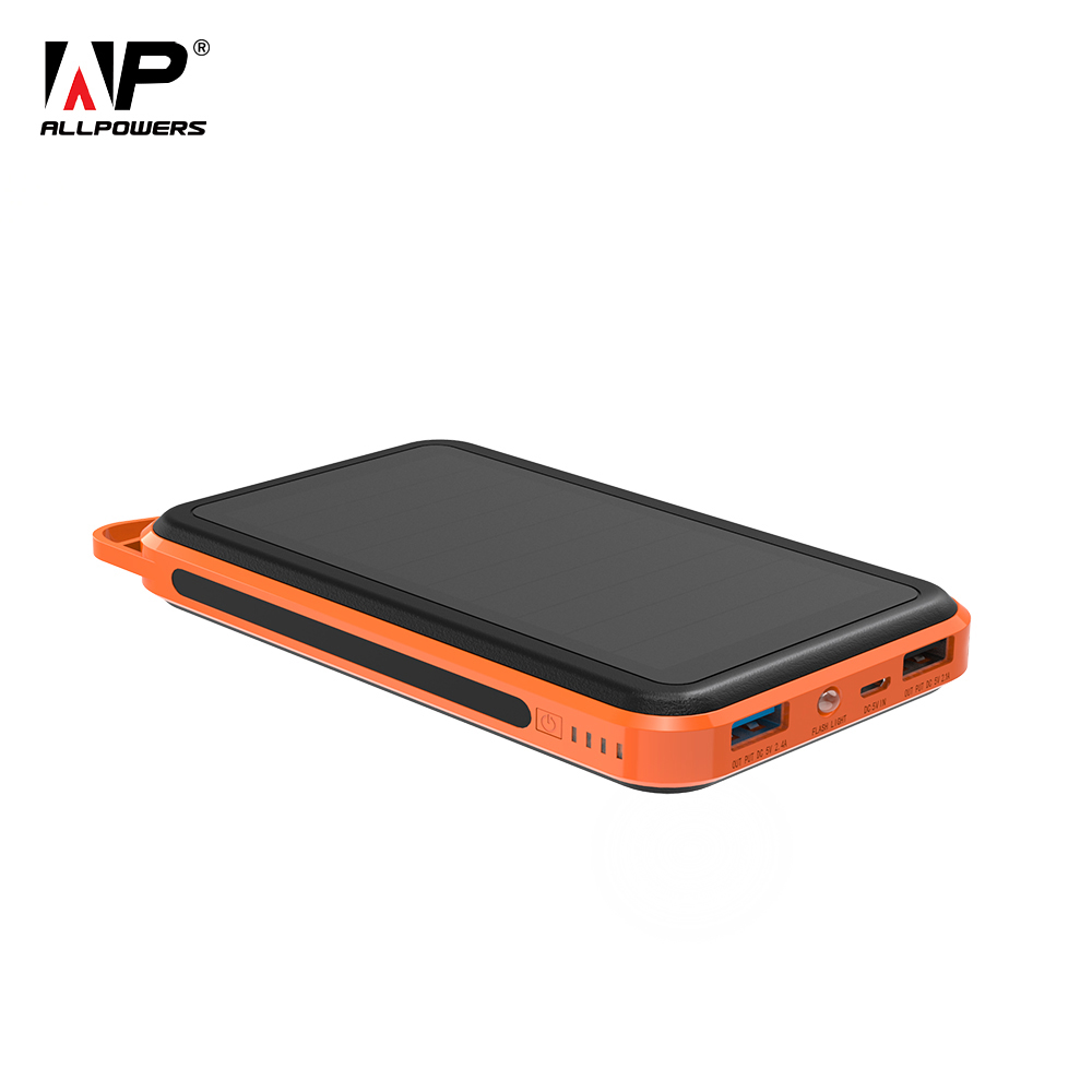 ALLPOWERS 15000mAh Power Bank Portable Solar External Battery Phone Charger for iPhone iPad Samsung Huawei Xiaomi Cell Phones