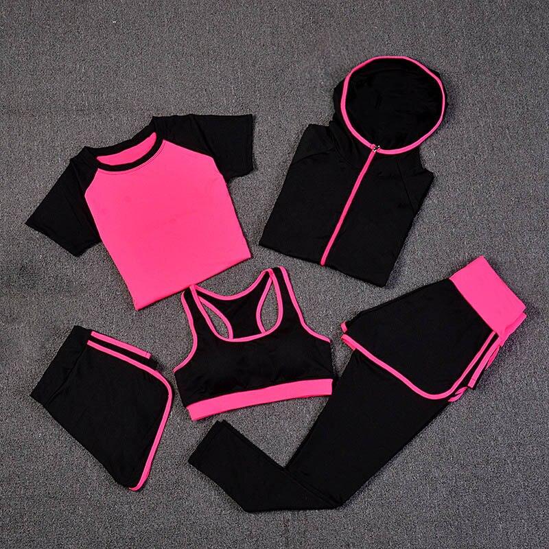 Nouveau tenues de Yoga Femmes vêtements de gym fitness Courir Survêtement soutien-gorge de Sport + Sport Leggings + Yoga Shorts + Top 5 Pièces Ensemble Sportwear