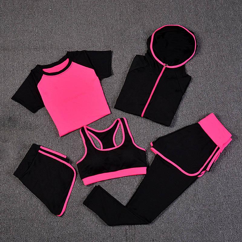 Nouveaux costumes de Yoga femmes vêtements de Sport Fitness survêtement de course soutien-gorge de Sport + Leggings de Sport + short de Yoga + Top 5 pièces ensemble vêtements de Sport