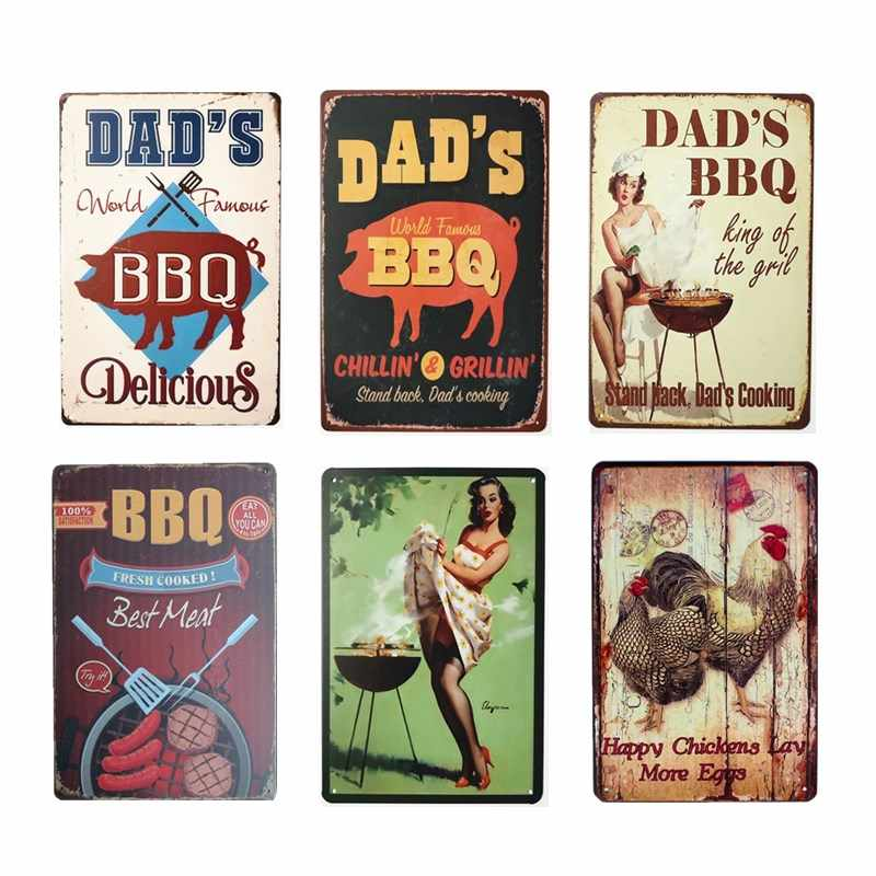 DAD'S BBQ Retro Plaque Wall Decor for Bar Pub Kitchen Party Zone Vintage Metal Signs Poster Plate Home Decor 20*30cm