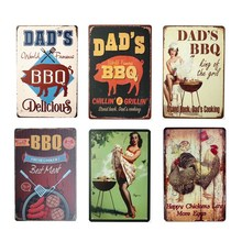 DAD'S BBQ placa Retro Decoración de pared para Bar Pub cocina fiesta zona Vintage Metal signos placa con afiche decoración del hogar 20*30cm