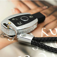 Silver Diamond Zinc Alloy Leather Car Key Cover Case For Mercedes Key Chain Keyring Benz W204