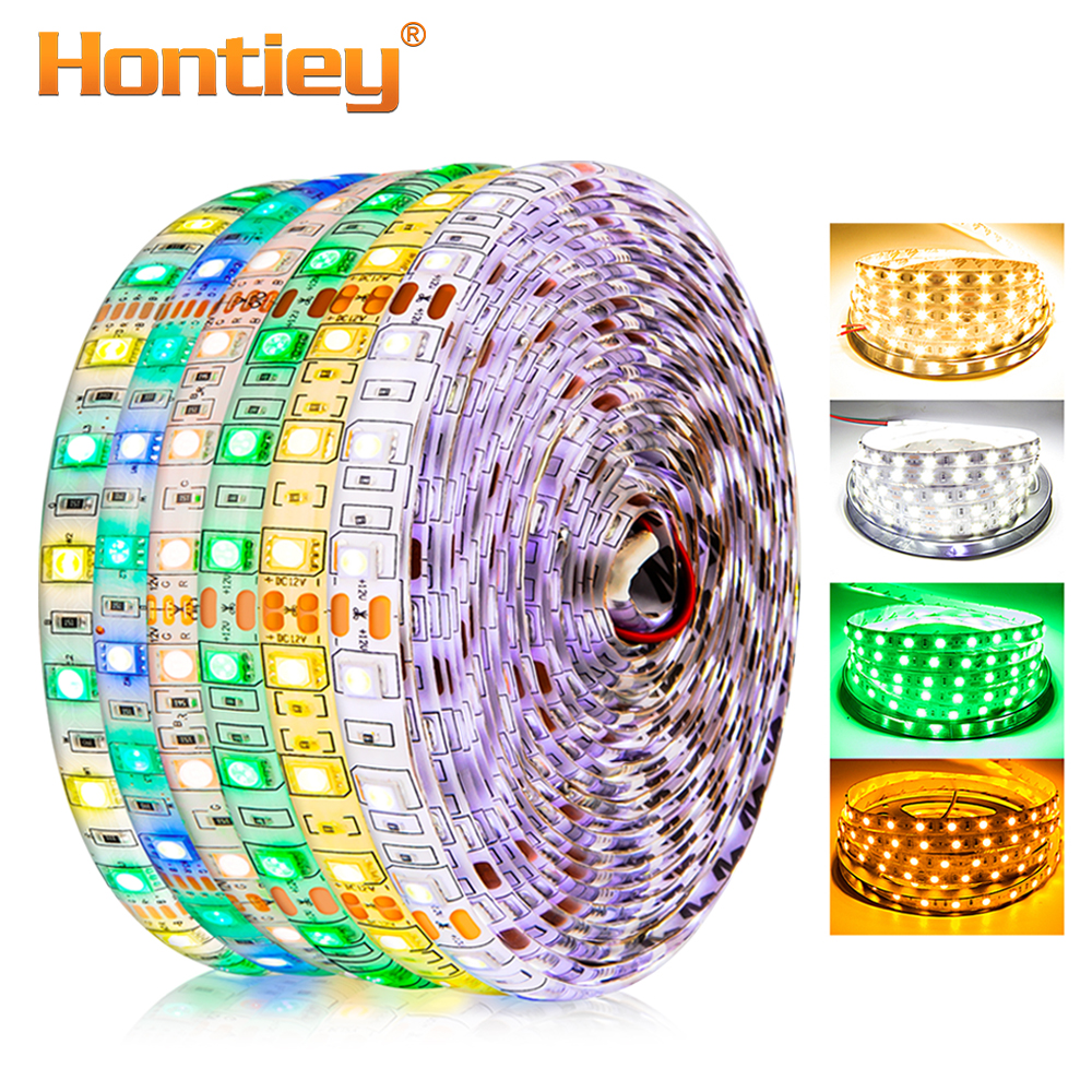 Hontiey LED Strip SMD5050 eller 2835 DC12V 60Leds / m 5m / roll Vit - LED-belysning