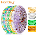 Hontiey LED Strip SMD5050 or 2835 DC12V 60Leds/m 5m/roll White Blue Green Yellow Red RGB DIY waterproof flexible decoration lamp