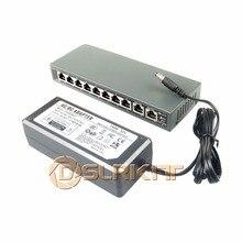 DSLRKIT 10 портов 8 PoE выключатель инъектор питания по Ethernet 52 в 120 Вт для ip-камеры/беспроводной AP/системы видеонаблюдения