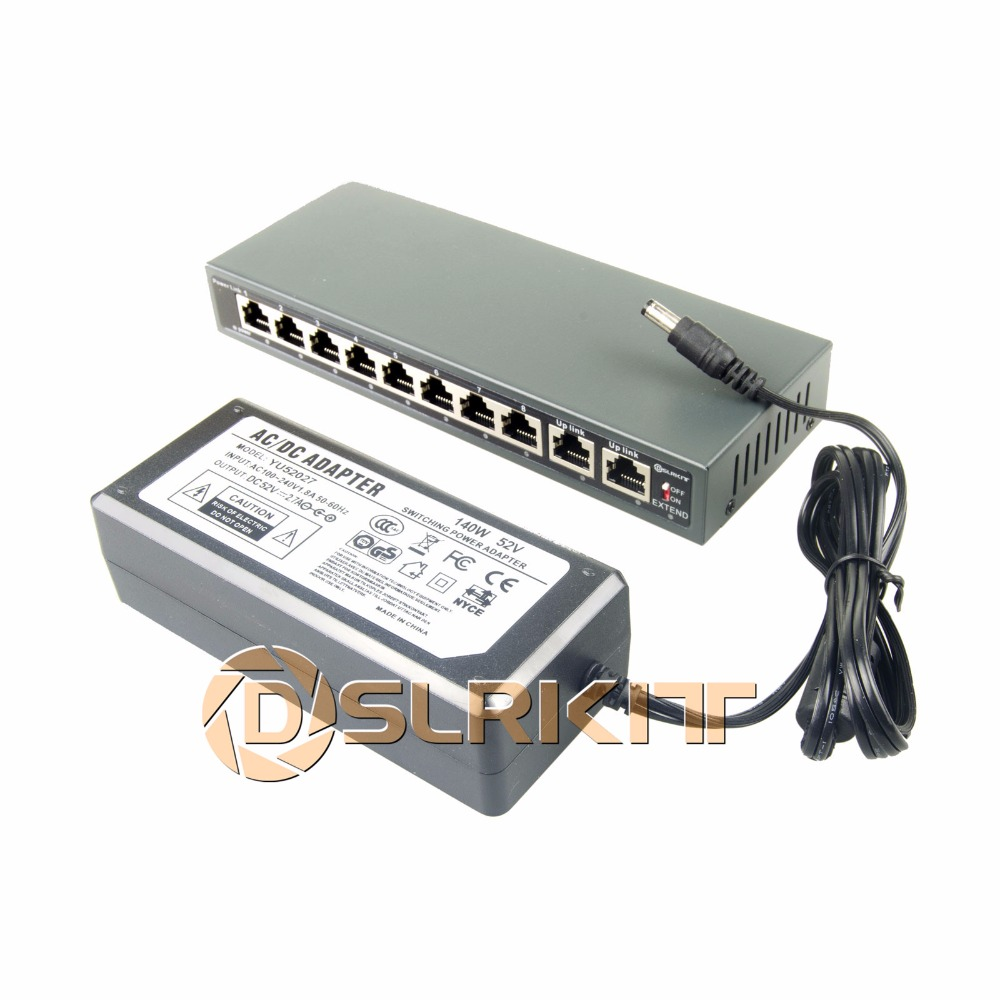 DSLRKIT 250M 10 Ports 8 PoE Switch Injector Power Over Ethernet 52V 120W max140W + 52V 2.7A AC Power adapter