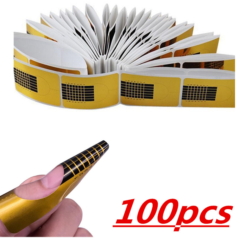 New 20 Or 50 Or 100pcs Nail Forms Professional Acrylic Curve Nail Extension Nail Art Guide Form Curl Tips Stencils And Stamps