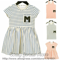 2016 новый бобо выбирает весна лето дети полосатые платья для новорожденных девочек платье хлопка детей малышей платье одежда