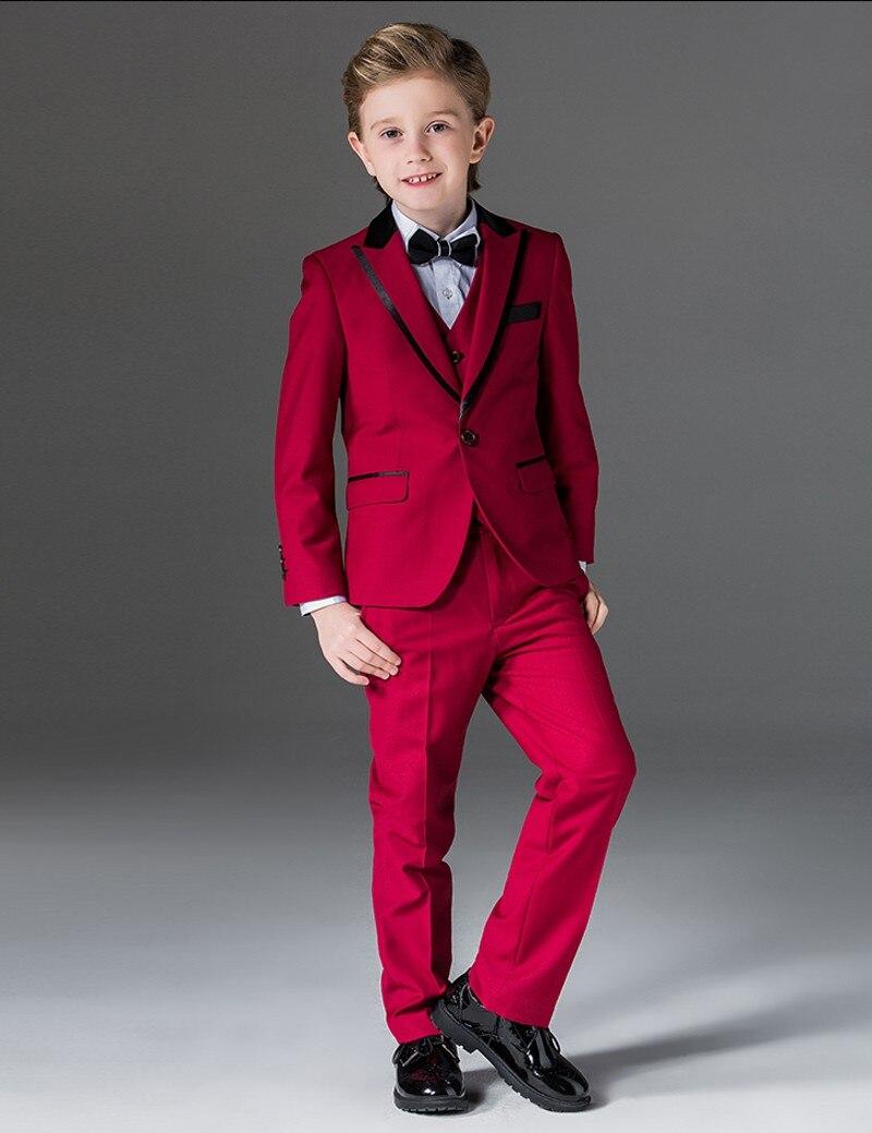Nuevo chico trajes pico solapa niños traje real/azul/rojo/Negro Chico boda/baile trajes chaqueta + chaleco + Pantalones + corbata + camisa) NH9