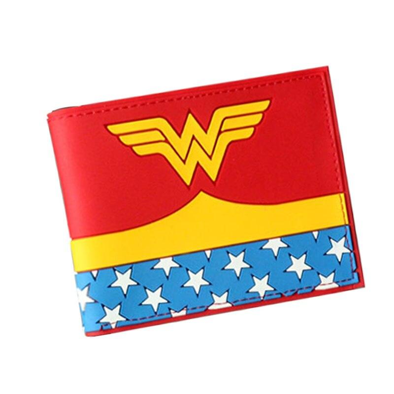 2017 New Movie 3D Wonder Woman Deadpool Bat Man Caption  America Anime Wallet Mens Woman Short Slim Leather Purse Coins Balsos