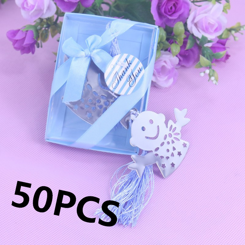 50 Bulk Blue Pink Snowman Children Bookmark Bridal Baby Shower Giveaway Kids Party Souvenirs Wedding Favors And Gifts For Guest