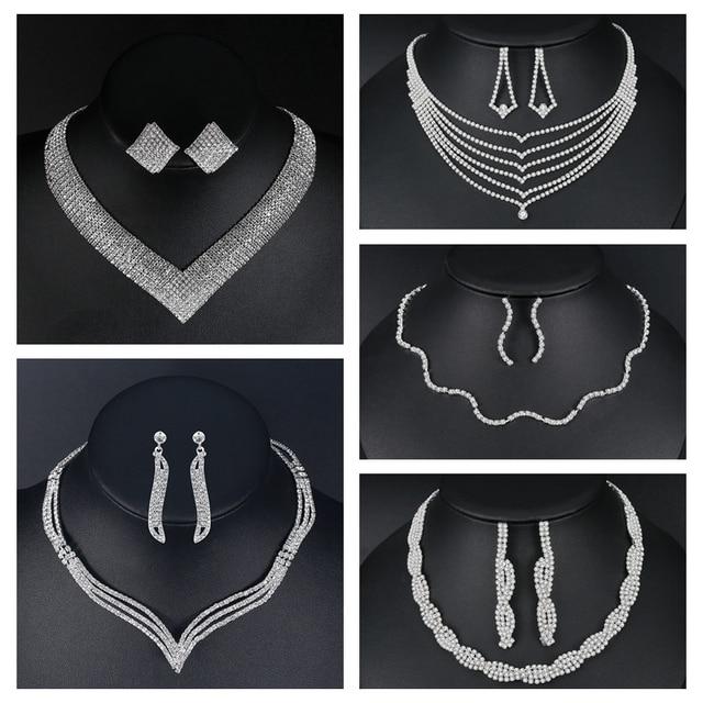 1c82d7a6a3 Clear Rhinestone Tassel Necklace Bridal Wedding Jewelry in 2019