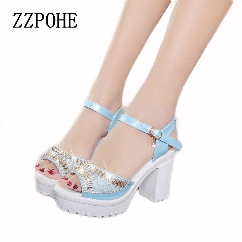ZZPOHE 2017 Summer new Woman Sandals Fashion wild sexy banquet women sandals high-heeled comfortable diamond sandals size 35-40