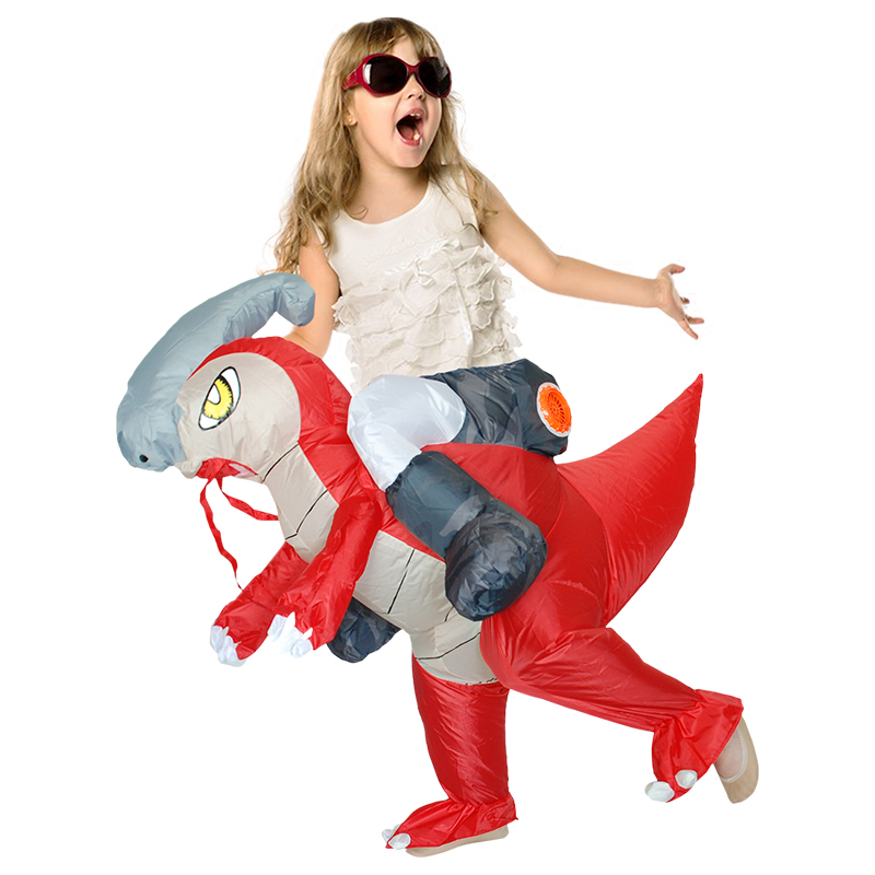 Boys Girls Inflatable Dinosaur Costume Funny Dress Fan Operated Cosplay  Parasaurolophus Halloween Costume for Kids