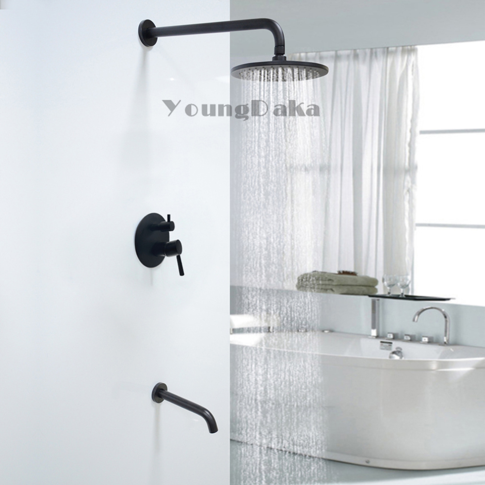 Brass Black 8 Inch Round Rainfall Shower Head Set Bathroom Hot Cold Mixer Valve Wall Mounted