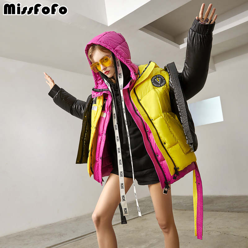 MissFoFo 2018 New Winter Down Coats Fashion Lady short solid Down Parka white duck down S