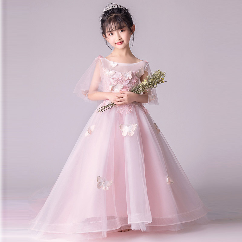 цены 2018 3D Flower Long Trailing Princess Girls Dress Children Kids Wedding Birthday Party Dresses Girls Party Elegant Dresses E147