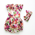 Baby Girls Romper boutique  Ruffles floral Rompers sets Baby Clothings Summer Cotton Kids Romper Girls  toddler baby clothes