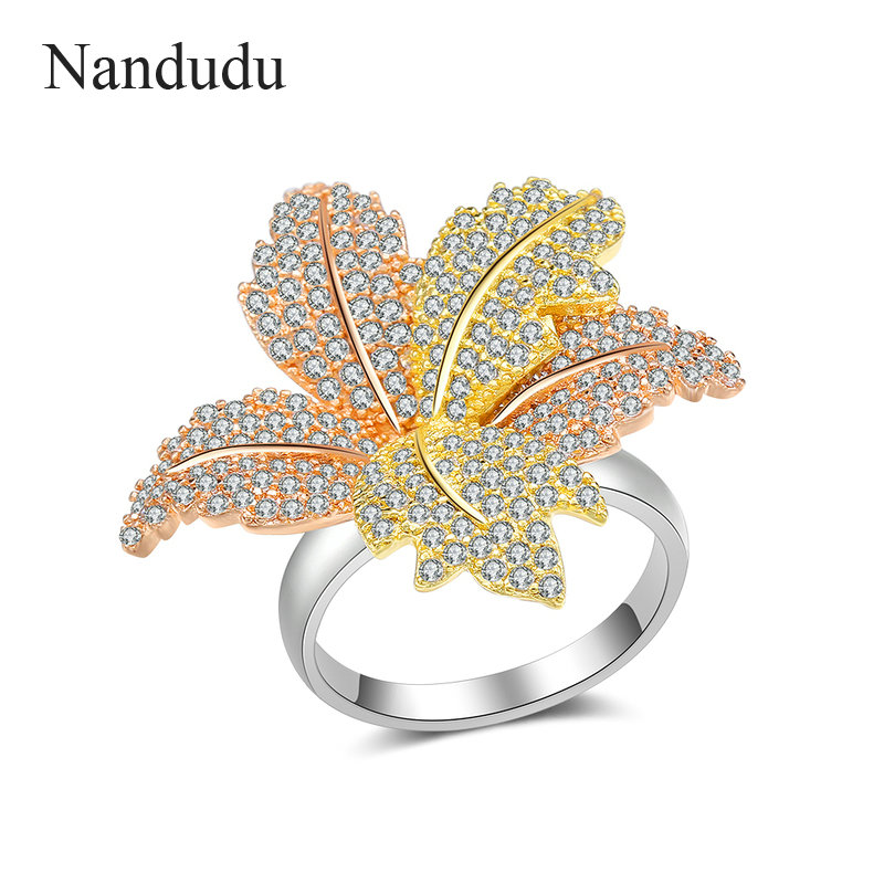 Nandudu Elegant 3 Tones Gold Wedding CZ Size 7 Ring Gift Luxury AAA Cubic Zircon Leaf Ring for Women Jewelry Accessories R2073