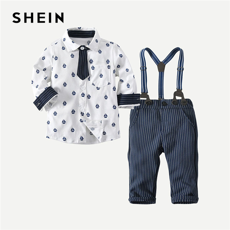SHEIN Toddler Boys Printed Preppy Shirt With Striped Overalls Two Piece Set 2019 Spring Long Sleeve Button Children Boys Clothes new style kids clothes boys scarf printed long sleeve t shirt casual pants boys clothes
