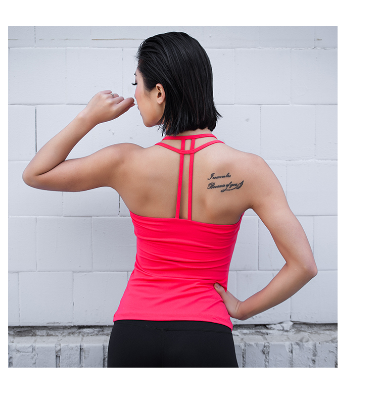 Free Shipping Eshtanga Women Yoga Backless Hollow Out Tank Tops With Padded Fitness Gym Vest 4 way stretch Clothing Size XS-XL hollow out zipper design backless romper